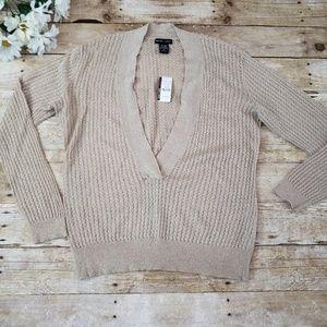 New York & Co V neck sweater gold